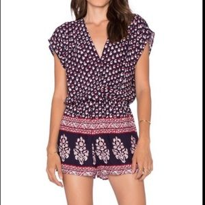 EIGHT SIXTY | Boho Romper Navy Blue Floral Large